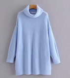 Winter Fashion Knitted Sweater Sky Blue Turtleneck Pullover