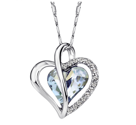 Beautiful Austria Crystal Rhinestone Love Heart Pendant Necklaces Fashion Jewelry