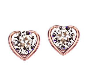 Rhinestone Fashion Love Heart Stud Earrings Jewelry