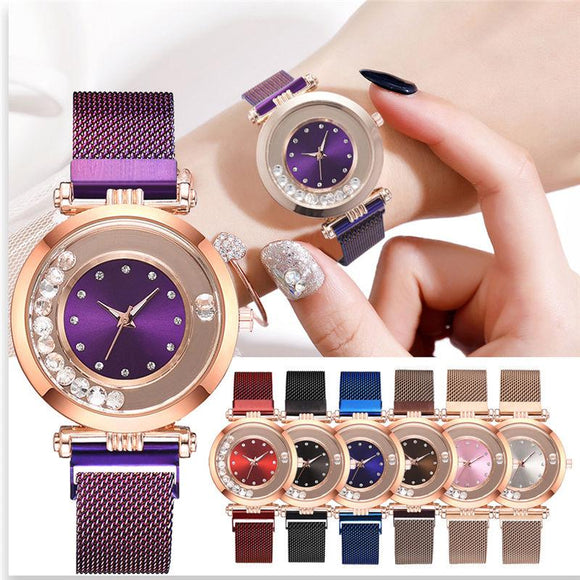 Dazzling Stainless Steel Magnet Buckle Rhinestone Quartz Wristwatches