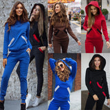 Fashion Autumn Winter Tracksuit Women Hoodies Sweatshirts Two Piece Set Outfits