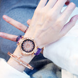 Bracelet set Watches Starry Sky Ladies Leather Quartz Wristwatch