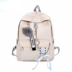 Chain USB Backpack Canvas 5pcs/set Student School Bags