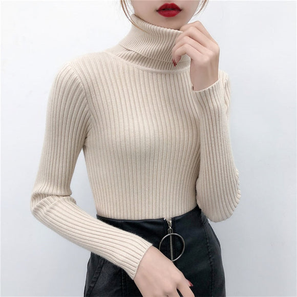 Women Casual Warm Soft Turtleneck Autumn Winter Knitted Sweater