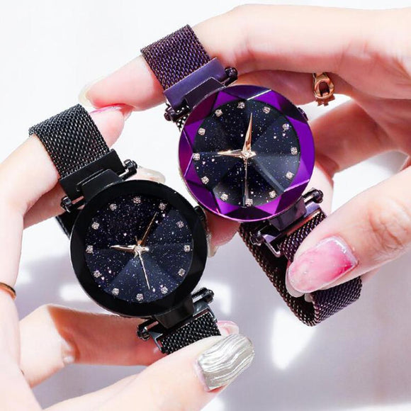 Luxury Starry Sky Crystal Analog Quartz Bracelet Watches For Women