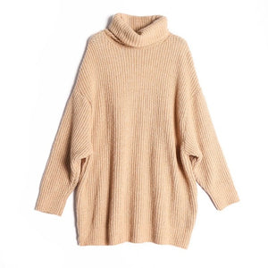 Winter Fashion Knitted Sweater Khaki Turtleneck Pullover