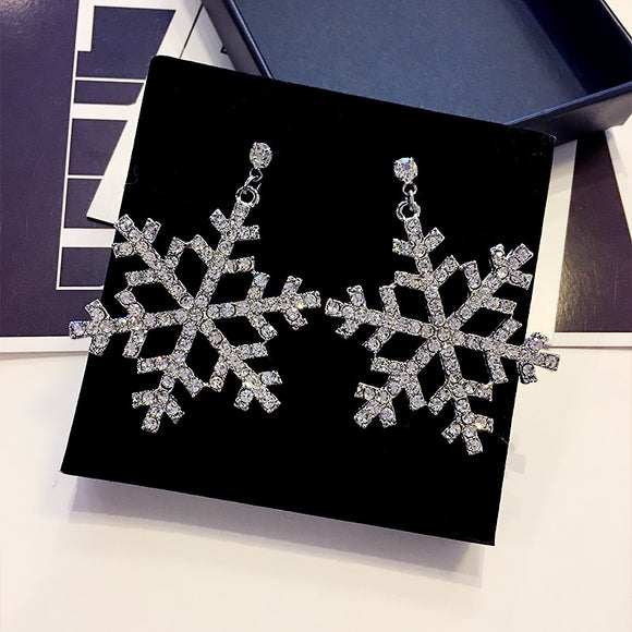 New fashion long alloy snowflake ear studs earrings