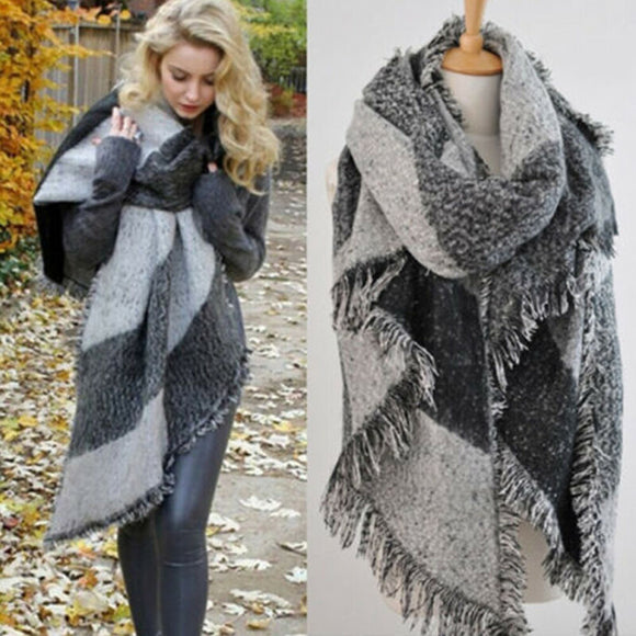 Fashion Large Scarfs Long Cashmere Winter Warm Plaid Shawl