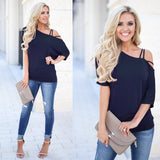 Loose Casual One Shoulder Off Sexy T-Shirt Fashion Tops