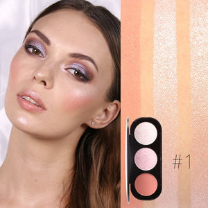 3 colors Natural Blusher Professional Highlighter Bronzer Face Contour Palette