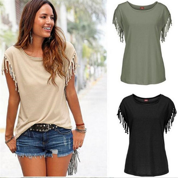 Summer Fashion Tassel Casual Sleeveless T-shirt