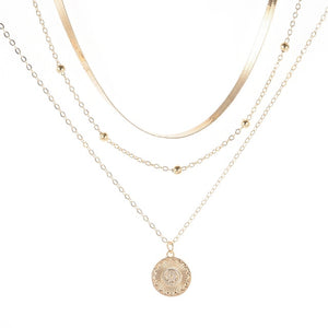 Lotus Silver Color Bohemia Alloy Necklace Multilayer Jewelry