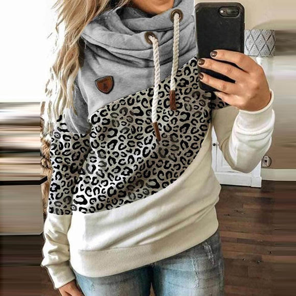 Women Patchwork Hooded Sweatshirt Autumn Winter Hoodie Pullover