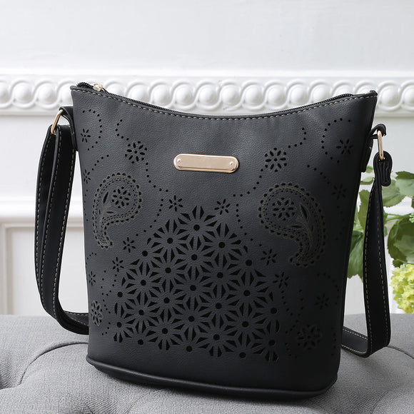 Leather woman small hollow out shoulder bag