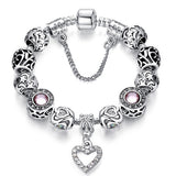 Fashion Silver Heart Charm Beads Bracelet