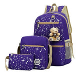 purple school backpack set for kids