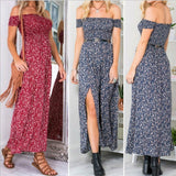 Sexy Strapless Beach Summer Vintage Bohemian Dress Sundresses