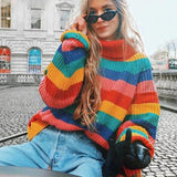 Fashion Rainbow Pullover Turtleneck Winter Knitted Sweaters