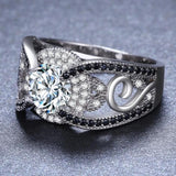 Black&White Stone 925 Sterling Silver Jewelry Rings for Women