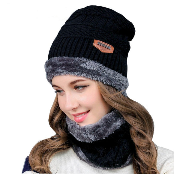 Knitted Winter Hat Beanies And Scarf Set For Women