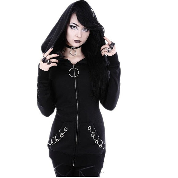 Punk Hoodie Zipper Sweatshirts Plus Size