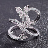 beautiful pink butterfly cubic zirconia ring jewelry