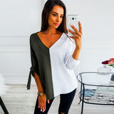 Womens Patchwork V-Neck Half Sleeve Sweatshirt Blouse