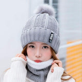 Warm Winter Knitted Hat Bbeanies Skullies And Scarf
