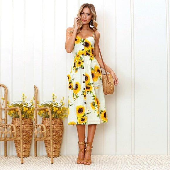 Sexy V Neck Backless Floral Summer Beach Dress Sundress
