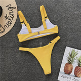 Bikinis Swimwear Solid Swimsuit