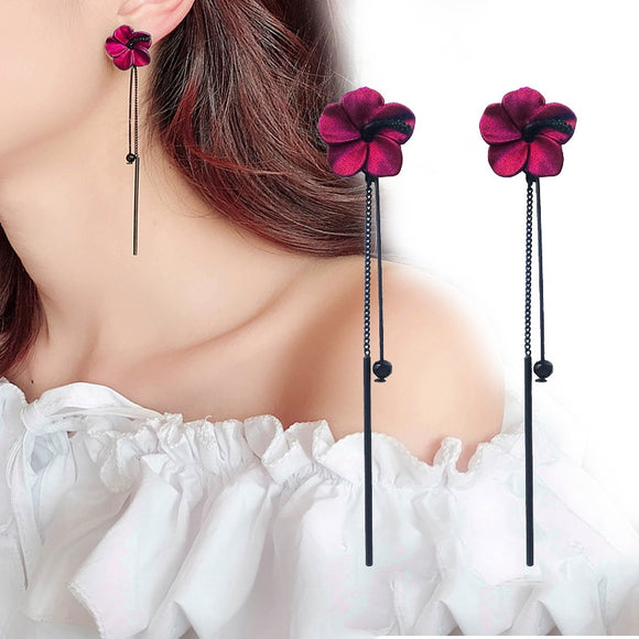 Retro flowers long Tassel earrings