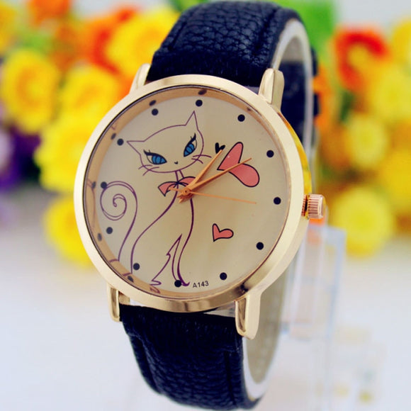 Fashion Ladies Watch Printed Cat Quartz Wristwatch
