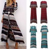 Bohemian printing long boho summer dress