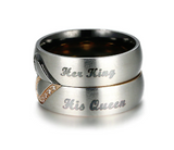 Her King His Queen Couple Heart Stainless Steel Ring