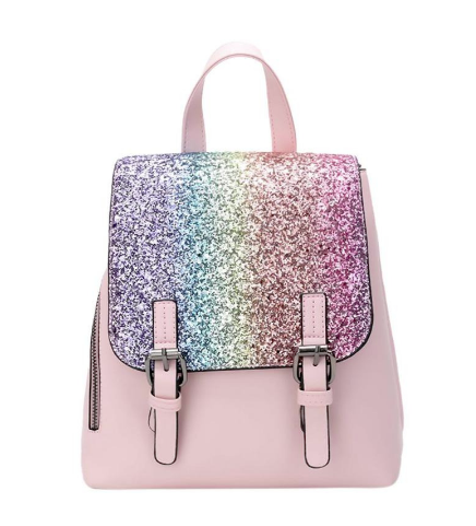 Fashion sequins backpacks PU leather travel rucksack shining school bag