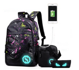 Luminous Students School Bags External USB Charge Backpacks