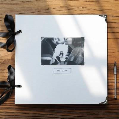 Large White Diy Album with Ribbon - heilsadiyalbum