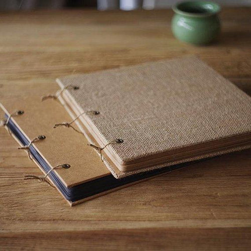 Square Burlap & Kraft Cover Scrapbook - heilsadiyalbum