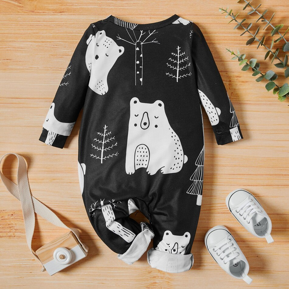 PatPat New Arrival Autumn and Winter Baby Boy Polar Bear Jumpsuits Baby Boy and Girl Clothing One Piece