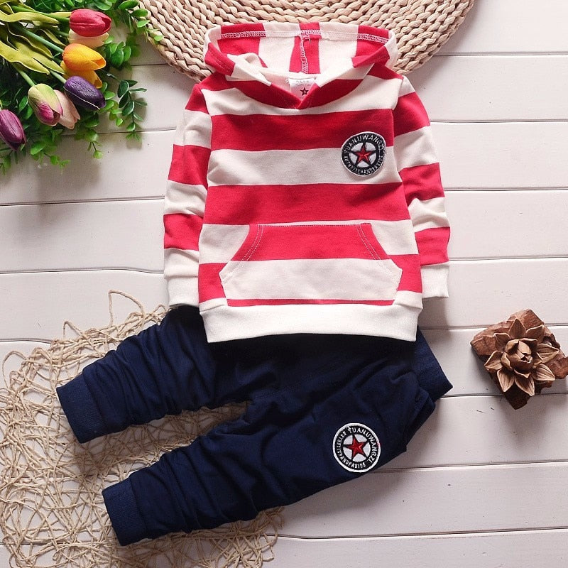 PatPat 2020 New Spring and Autumn Baby Boy Casual Striped Sets for Toddler Boy Hooded Sweater Clothes