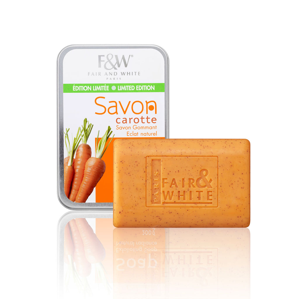 F&W Original Exfoliating Carrot Soap Tin Can 200g - Fair & White - Fade Dark Spots, Even Skin Tone, Skin Lightening, Skin Brightening, Skin Bleaching, Hydroquinone, Fair and White
