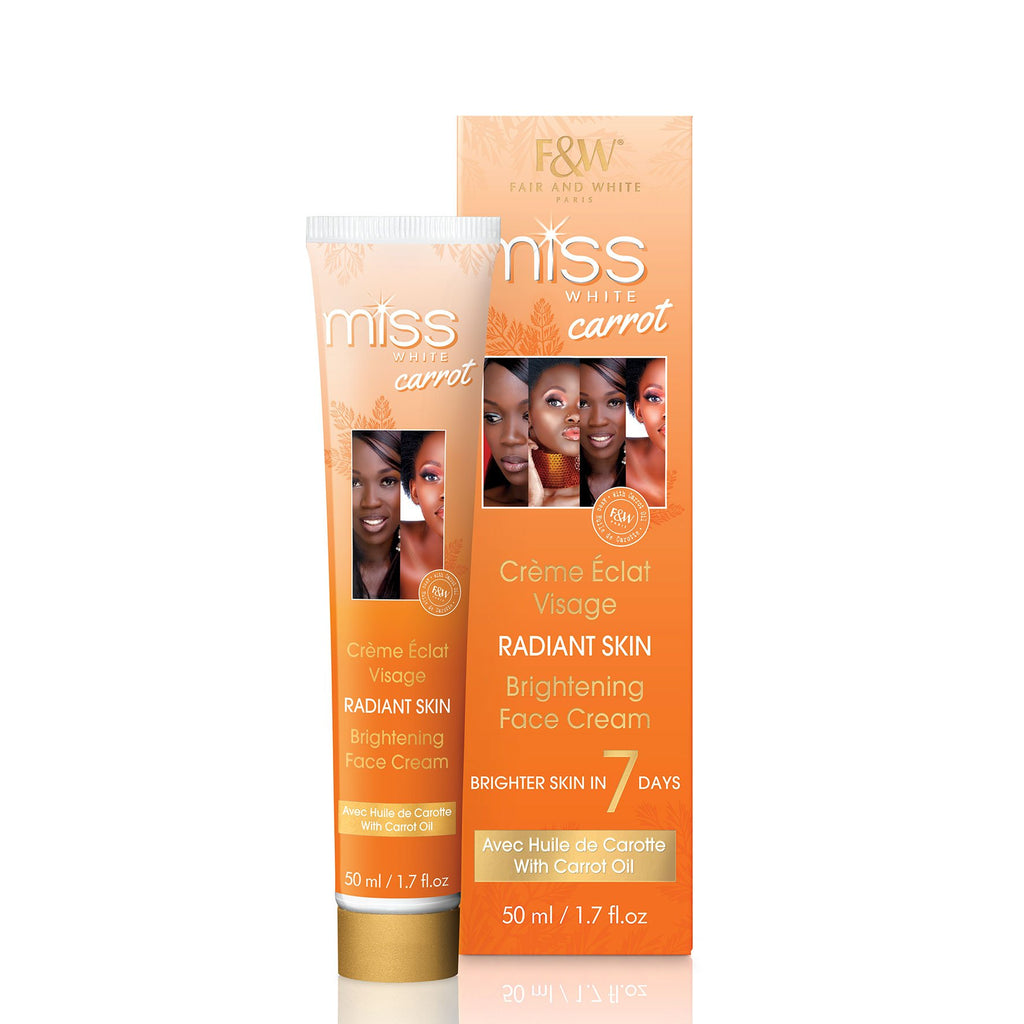 Miss White Carrot Brightening Face Cream 50ml - Fair & White - Fade Dark Spots, Even Skin Tone, Skin Lightening, Skin Brightening, Skin Bleaching, Hydroquinone, Fair and White