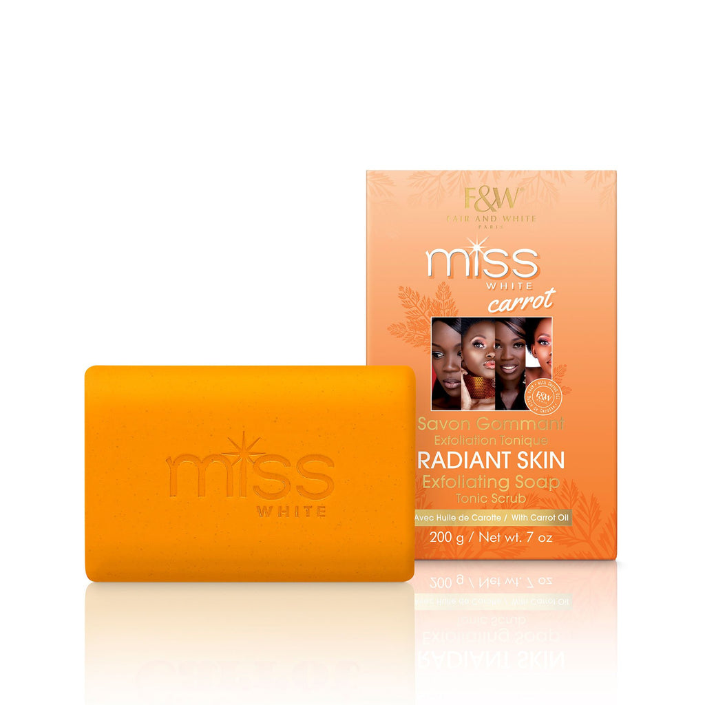 Miss White Carrot Exfoliating Soap Tonic Scrub 200g - Fair & White - Fade Dark Spots, Even Skin Tone, Skin Lightening, Skin Brightening, Skin Bleaching, Hydroquinone, Fair and White