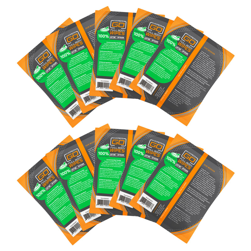HyperGo Full Body Wipes (10 Individually Wrapped Wipes)