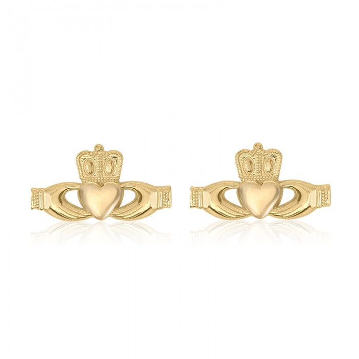 10K Yellow Gold Claddagh Baby Stud Earrings