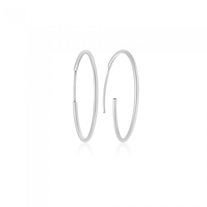 White Gold Sleeper Hoop Earrings - 16.8mm (.66in) Diameter