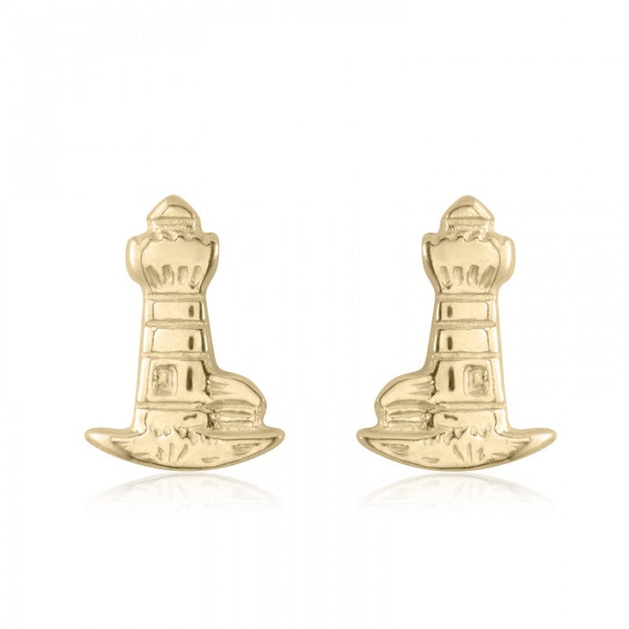 10K Yellow Gold Lighthouse Baby Stud Earrings