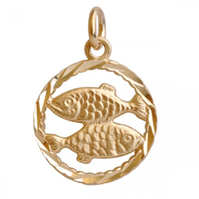 10K Yellow Gold Pisces Pendant Necklace (22'' Chain)