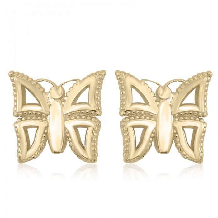 10K Yellow Gold Butterfly Baby Stud Earrings