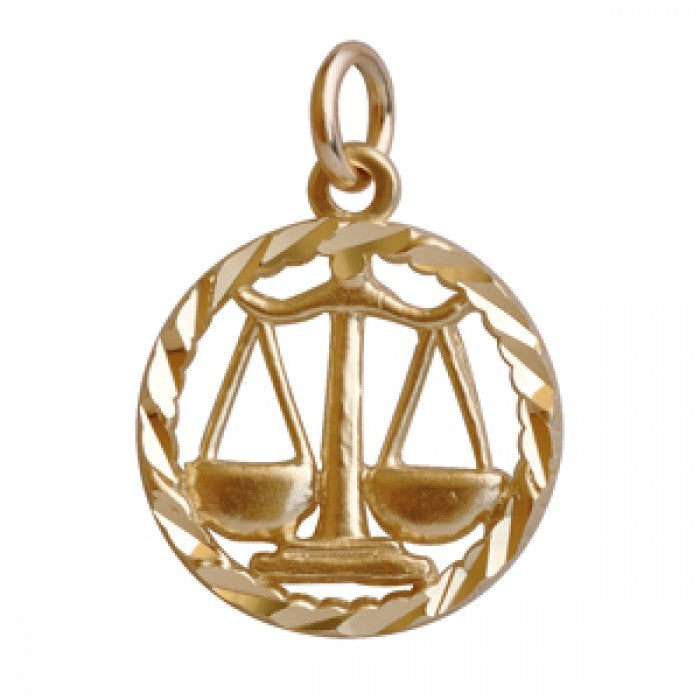 10K Yellow Gold Libra Pendant Necklace (22'' Chain)